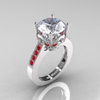 Classic 14K White Gold 3.0 Carat White Sapphire Ruby Solitaire Wedding Ring R301-14KWGRWS
