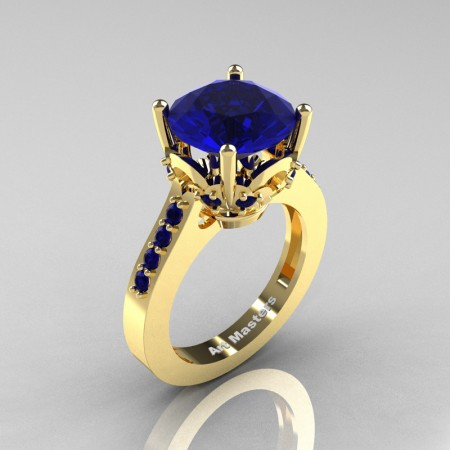 Classic 14K Yellow Gold 3.0 Carat Blue Sapphire Solitaire Wedding Ring R301-14KYGBS