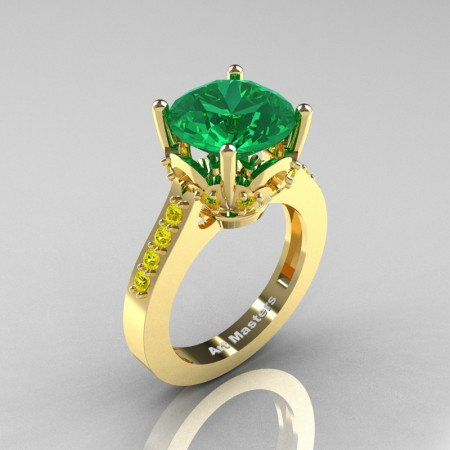 Classic 14K Yellow Gold 3.0 Carat Emerald Yellow Sapphire Solitaire Wedding Ring R301-14KYGYSEM