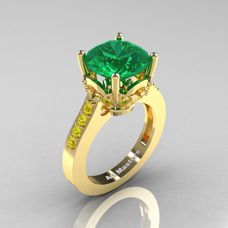 Classic 14K Yellow Gold 3 0 Carat Emerald Yellow Sapphire