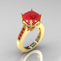 Classic 14K Yellow Gold 3.0 Carat Rubies Solitaire Wedding Ring R301-14KYGR