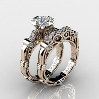 Art Masters Caravaggio 14K Rose Gold 1.25 Ct Princess White Sapphire Diamond Engagement Ring Wedding Band Set R623PS-14KRGDWS