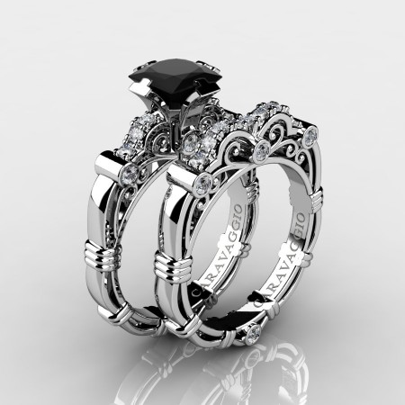 Art Masters Caravaggio 14K White Gold 1.25 Ct Princess Black and White Diamond Engagement Ring Wedding Band Set R623PS-14KWGDBD