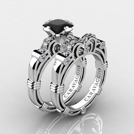 Art Masters Caravaggio 14K White Gold 1.25 Ct Princess Black and White Diamond Engagement Ring Wedding Band Set R623PS-14KWGDBD