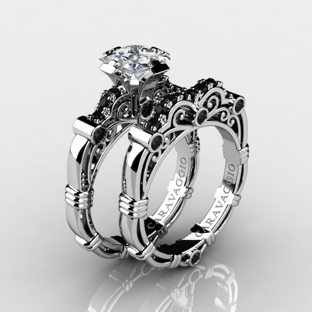 Art Masters Caravaggio 14K White Gold 1.25 Ct Princess White Sapphire Black Diamond Engagement Ring Wedding Band Set R623PS-14KWGBDWS
