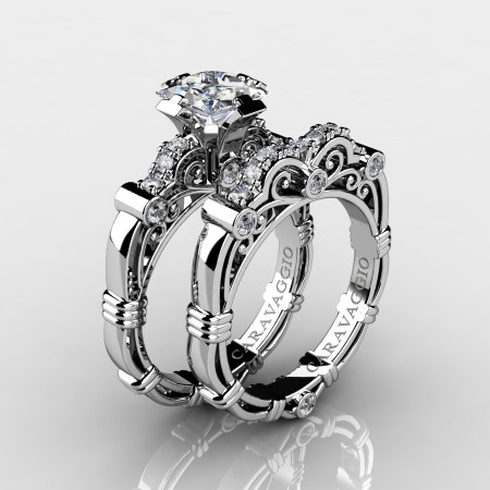 Art Masters Caravaggio 14K White Gold 1.25 Ct Princess White Sapphire Diamond Engagement Ring Wedding Band Set R623PS-14KWGDWS