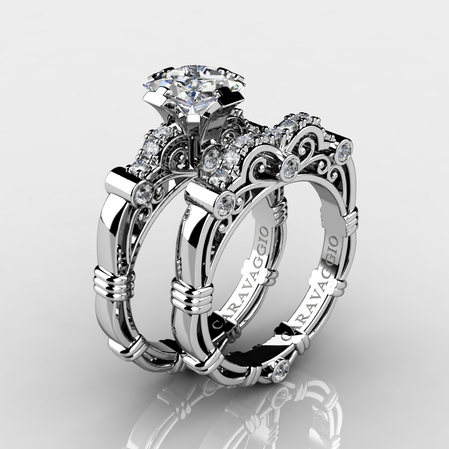 Art Masters Caravaggio 14k White Gold 125 Ct Princess White Sapphire  Diamond Engagement Ring Wedding Band