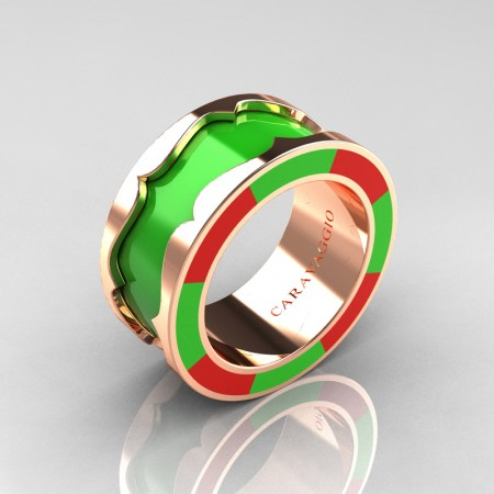 Caravaggio 14K Rose Gold Lime Green and Red Italian Enamel Wedding Band Ring R618F-14KRGRLGEN