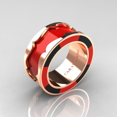 Caravaggio 14K Rose Gold Red and Black Italian Enamel Wedding Band Ring R618F-14KRGBLREN