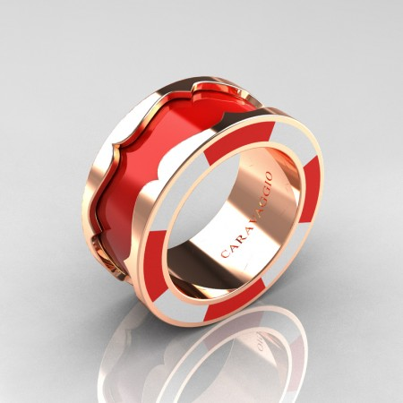 Caravaggio 14K Rose Gold Red and White Italian Enamel Wedding Band Ring R618F-14KRGWREN