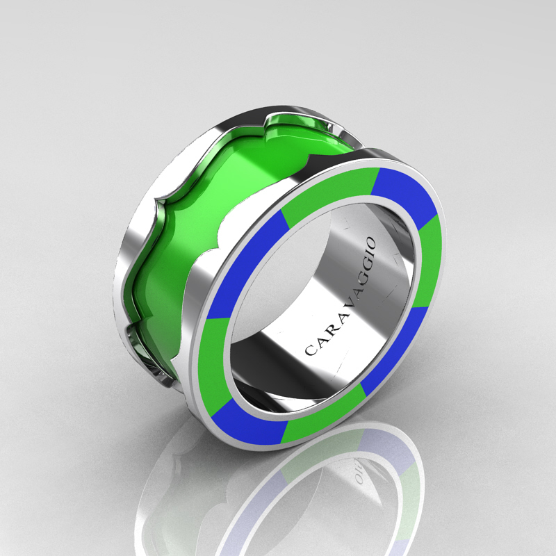 caravaggio 14k white gold lime green and blue italian enamel wedding band ring r618f 14kwgbllgen - Green Wedding Rings