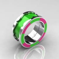 Caravaggio 14K White Gold Lime Green and Pink Italian Enamel Wedding Band Ring R618F-14KWGPLGEN