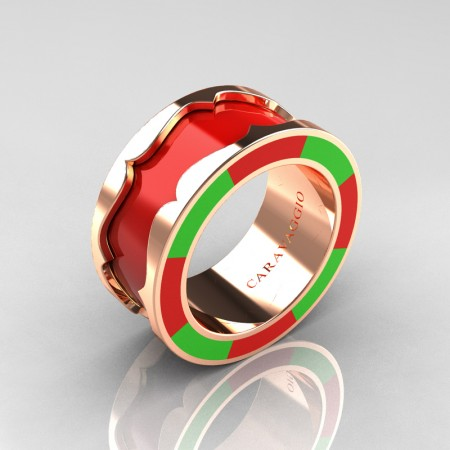 Caravaggio 14K Rose Gold Red and Green Italian Enamel Wedding Band Ring R618F-14KRGGREN