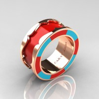 Caravaggio 14K Rose Gold Red and Turquoise Blue Italian Enamel Wedding Band Ring R618F-14KRGTBREN