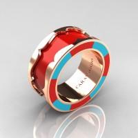 Caravaggio 14K Rose Gold Red and Turquoise Blue Italian Enamel Wedding Band Ring R618F-14KRGTBREN
