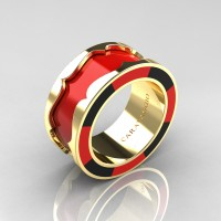 Caravaggio 14K Yellow Gold Red and Black Italian Enamel Wedding Band Ring R618F-14KYGBLREN