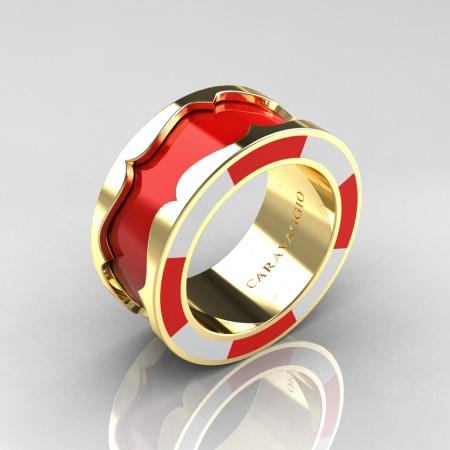 Caravaggio 14K Yellow Gold Red and White Italian Enamel Wedding Band Ring R618F-14KYGWREN