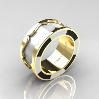 Caravaggio 14K Yellow Gold White and Black Italian Enamel Wedding Band Ring R618F-14KYGBLWEN