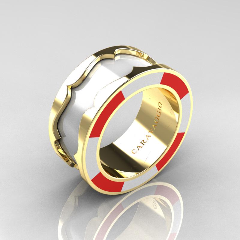 Caravaggio 14k Yellow Gold White And Red Italian Enamel Wedding Band Ring R618f 14kygrwen