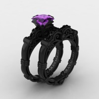Art Masters Caravaggio 14K Black Gold 1.25 Ct Princess Amethyst Black Diamond Engagement Ring Wedding Band Set R623PS-14KBGBDAM