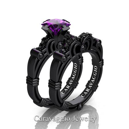 Art Masters Caravaggio 14K Black Gold 1.25 Ct Princess Amethyst Black Diamond Engagement Ring Wedding Band Set R623PS-14KBGBDAM