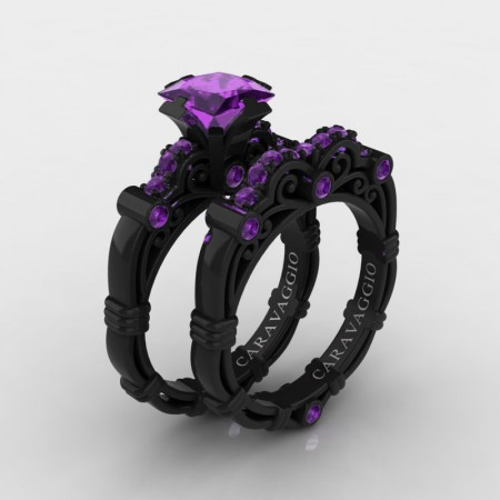 Art Masters Caravaggio 14K Black Gold 1.25 Ct Princess Amethyst Engagement Ring Wedding Band Set R623PS-14KBGAM