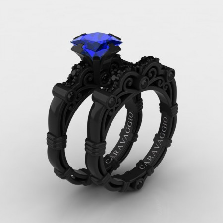 Art Masters Caravaggio 14K Black Gold 1.25 Ct Princess Blue Sapphire Black Diamond Engagement Ring Wedding Band Set R623PS-14KBGBDBS