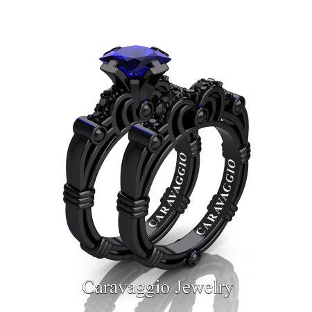 Art Masters Caravaggio 14K Black Gold 1.25 Ct Princess Blue Sapphire Black Diamond Engagement Ring Wedding Band Set R623PS-14KBGBDBS
