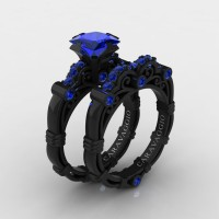 Art Masters Caravaggio 14K Black Gold 1.25 Ct Princess Blue Sapphire Engagement Ring Wedding Band Set R623PS-14KBGBS