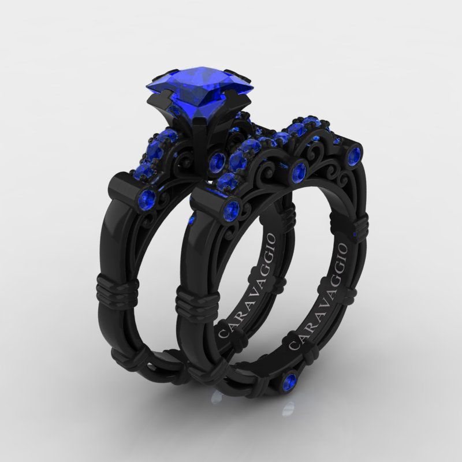 Sapphire Wedding Rings.Art Masters Caravaggio 14k Black Gold 1 25 Ct Princess Blue Sapphire Engagement Ring Wedding Band Set R623ps 14kbgbs