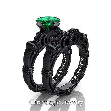 Art Masters Caravaggio 14K Black Gold 1.25 Ct Princess Emerald Black Diamond Engagement Ring Wedding Band Set R623PS-14KBGBDEM