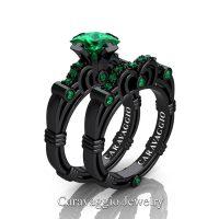 Art Masters Caravaggio 14K Black Gold 1.25 Ct Princess Emerald Engagement Ring Wedding Band Set R623PS-14KBGEM