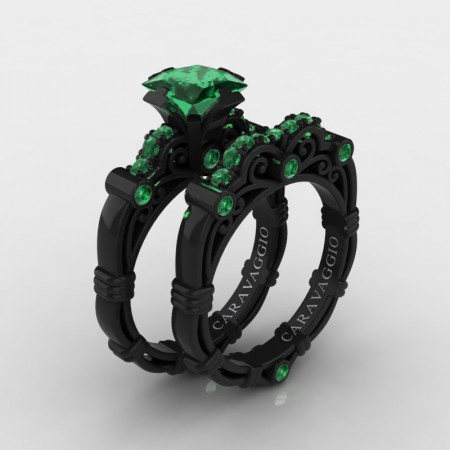Art Masters Caravaggio 14K Black Gold 1.25 Ct Princess Emerald Engagement Ring Wedding Band Set R623PS-14KBGEM