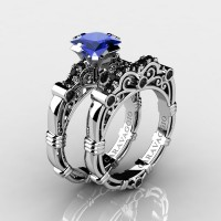 Art Masters Caravaggio 10K White Gold 1.25 Ct Princess Blue Sapphire Black Diamond Engagement Ring Wedding Band Set R623PS-10KWGBDBS