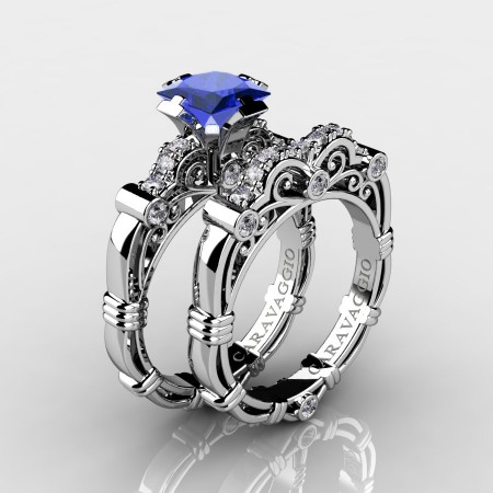 Art Masters Caravaggio 10K White Gold 1.25 Ct Princess Blue Sapphire Diamond Engagement Ring Wedding Band Set R623PS-10KWGDBS