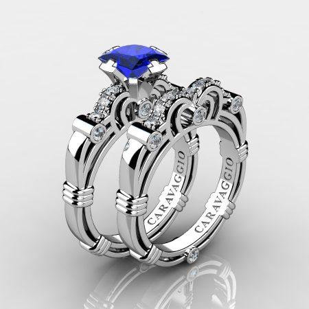 Art Masters Caravaggio 10K White Gold 1.25 Ct Princess Blue Sapphire Diamond Engagement Ring Wedding Band Set R623PS-10KWGDBS