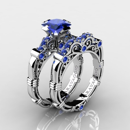 Art Masters Caravaggio 10K White Gold 1.25 Ct Princess Blue Sapphire Engagement Ring Wedding Band Set R623PS-10KWGBS
