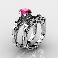 Art Masters Caravaggio 10K White Gold 1.25 Ct Princess Pink Sapphire Black Diamond Engagement Ring Wedding Band Set R623PS-10KWGBDPS