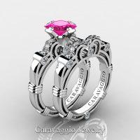 Art Masters Caravaggio 10K White Gold 1.25 Ct Princess Pink Sapphire Diamond Engagement Ring Wedding Band Set R623PS-10KWGDPS