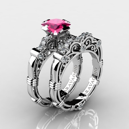 Art Masters Caravaggio 10K White Gold 1.25 Ct Princess Pink Sapphire Diamond Engagement Ring Wedding Band Set R623PS-10KWGDPS