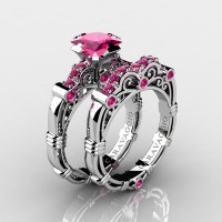 Art Masters Caravaggio 10K White Gold 1.25 Ct Princess Pink Sapphire Engagement Ring Wedding Band Set R623PS-10KWGPS