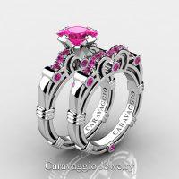 Art Masters Caravaggio 10K White Gold 1.25 Ct Princess Pink Sapphire Engagement Ring Wedding Band Set R623PS-10KWGPS