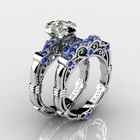 Art Masters Caravaggio 10K White Gold 1.25 Ct Princess White and Blue Sapphire Engagement Ring Wedding Band Set R623PS-10KWGWSBS