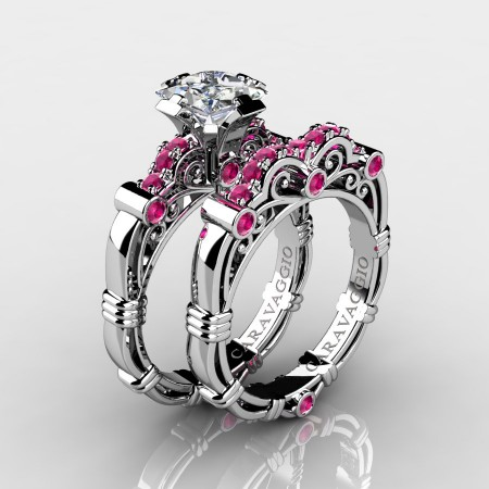 Art Masters Caravaggio 10K White Gold 1.25 Ct Princess White and Pink Sapphire Engagement Ring Wedding Band Set R623PS-10KWGWSPS