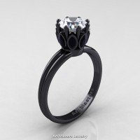 Classic 14K Black Gold Marquise Black Diamond 1.0 Ct Round White Diamond Solitaire Ring R90-14KBGBDD