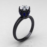 Classic 14K Black Gold Marquise Blue Sapphire 1.0 Ct Round Diamond Solitaire Ring R90-14KBGBSD