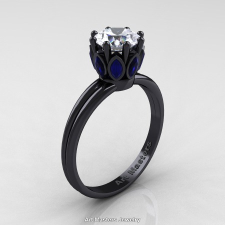 Classic-14K-Black-Gold-Marquise-Blue-Sapphire-1-0-Ct-Round-White-Diamond-Solitaire-Ring-R90-14KBGBSD-P
