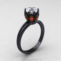 Classic 14K Black Gold Marquise Orange Sapphire 1.0 Ct Round Diamond Solitaire Ring R90-14KBGOSD