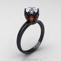 Classic 14K Black Gold Marquise Orange Sapphire 1.0 Ct Round Diamond Solitaire Ring R90-14KBGOSD