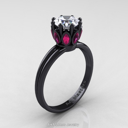 Classic-14K-Black-Gold-Marquise-Pink-Sapphire-1-0-Carat-Round-Diamond-Solitaire-Ring-R90-14KBGPSD-P